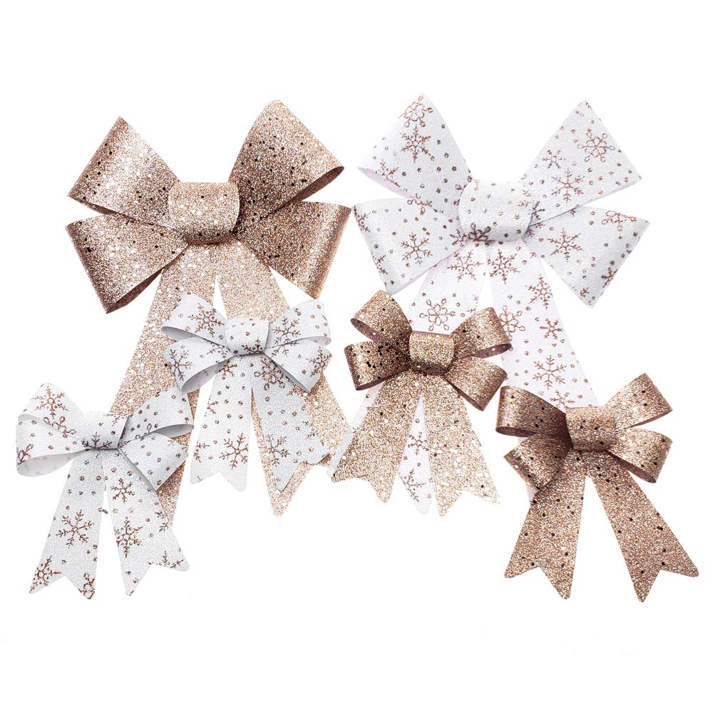 Homeford Glitter Snowflake Print Plastic Christmas Bows, Rose Gold/White, 6-Piece