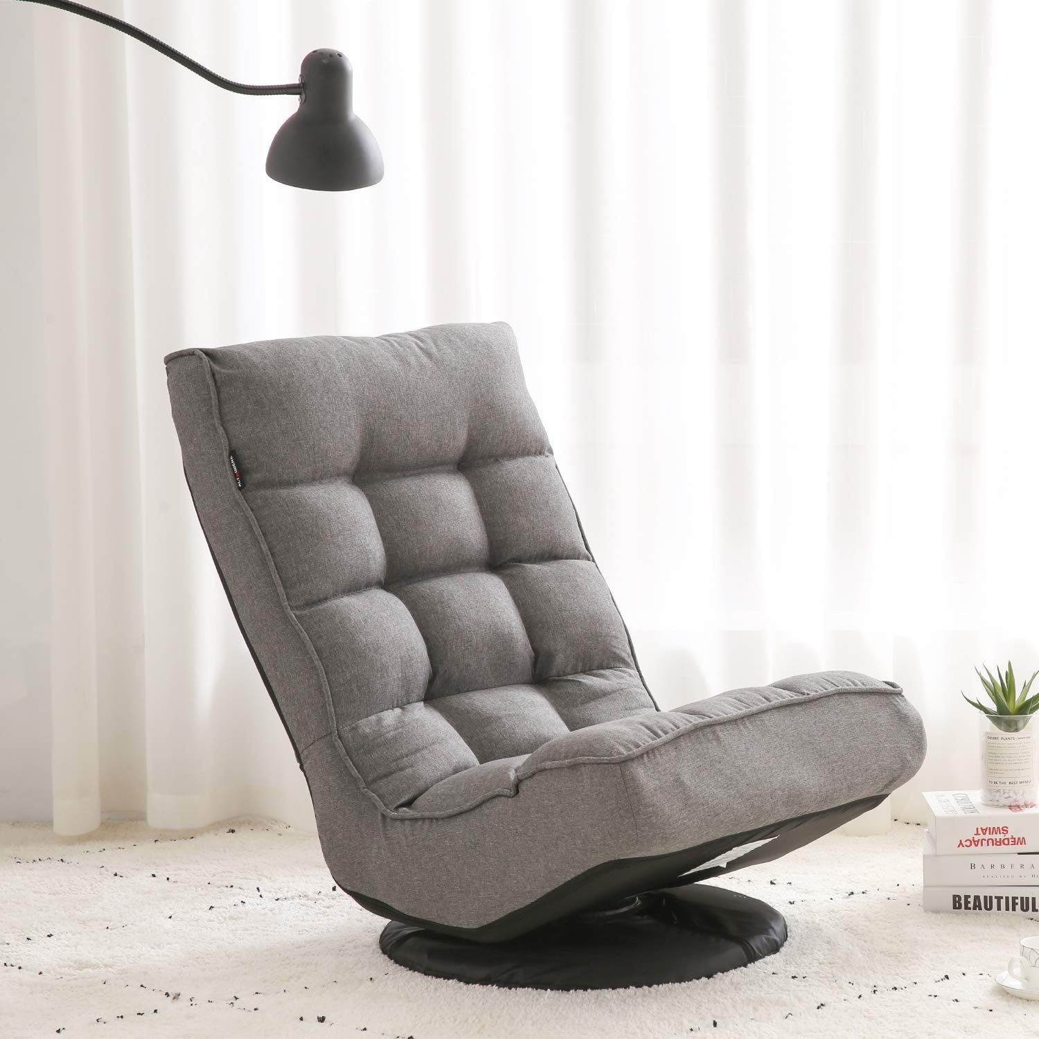 Altrobene Ergonomic Floor Gaming Chair, Lazy Sofa Sleeper, High Back, 360 Degree Swivel, Soft Padded, Grey