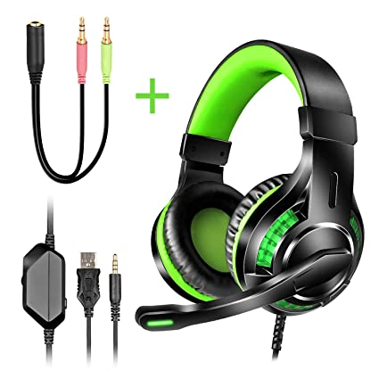 Xbox one PS4 Gaming Headset【3 5mm Surround Sound, Locate Enemy's Positions  by Voice】Reccazr HD10 Mic Cancel Over Ear Gaming Headphones with Green LED