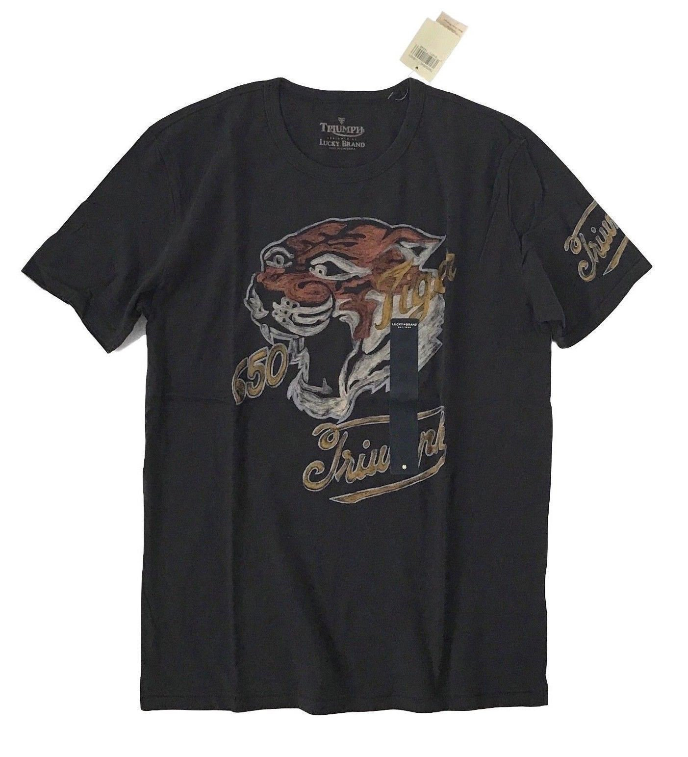 Lucky Brand Men's Triumph 650 Tiger Cotton Tee (X-Large)