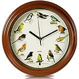 2 x HC-Handel 912109 Wanduhr Uhr Vogelwelt mit Vogelstimmen 33 cm braun