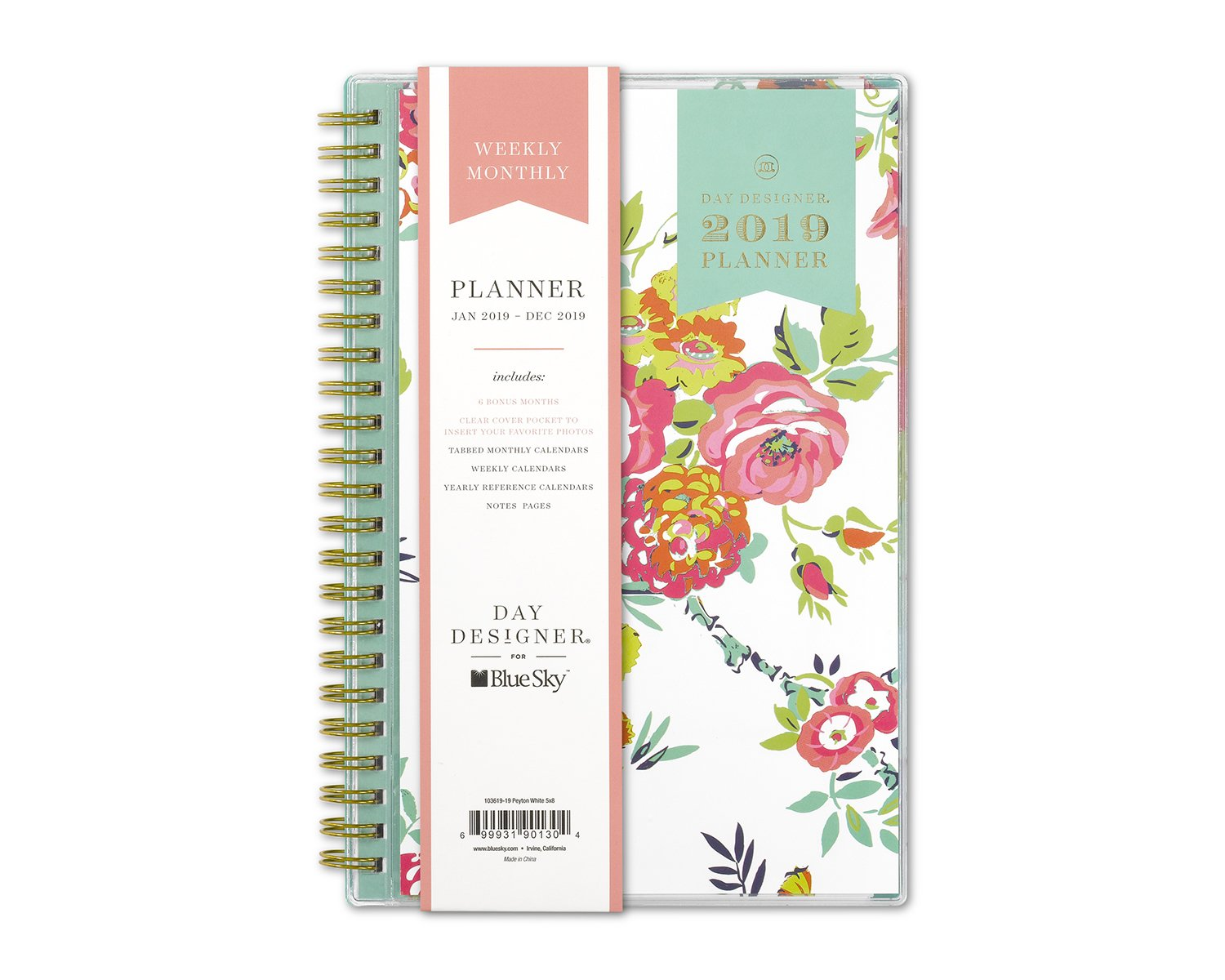 """Day Designer for Blue Sky 2019 Weekly & Monthly Planner, Flexible Cover, Twin-Wire Binding, 5"""" x 8"""", Peyton White"""