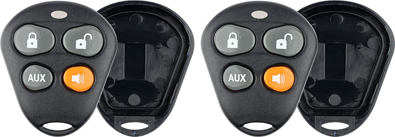 KeylessOption Keyless Entry Remote Control Starter Car Key Fob Case Shell Outer Cover Button Pads For Viper Automate Alarms Pack of 2