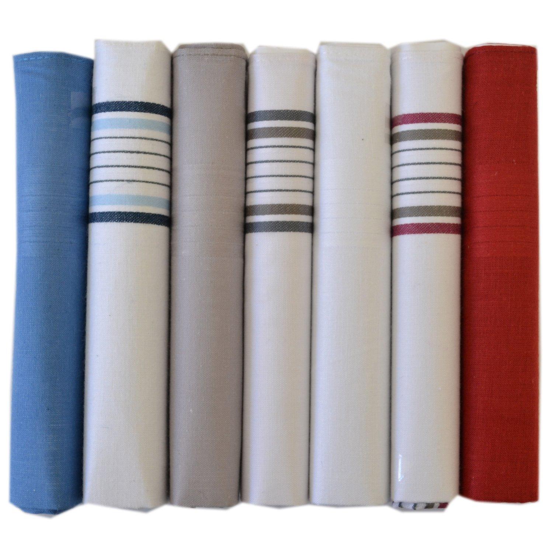 7 Pack Hommes Teints   Plaine Dépouillé Mouchoirs 100 % Coton, Couleurs  Assorties b7dd6d3e813