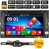 6.2Inch Universal GPS Navigation HD 800*480 Digital Touchscreen Double 2DIN Car Radio Stereo DVD Player Bluetooth iPod MP3 Player Headunit Analog TV + Free 8GB Map Card + HD Rearview Camera