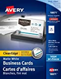 """Avery Clean Edge Business Cards for Inkjet Printers, 2"""" x 3-1/2"""", White, Matte Coated, 100 Pack, Rectangle (18871)"""