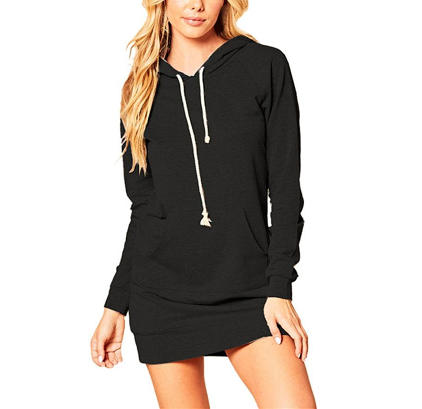 BSGSH Women Pullover Sweatshirt Long Sleeves Tunic Hoodie Dress with Kangaroo Pocket (S, Black)