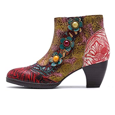 RSHENG Botines de cuero, zapatos de invierno de primavera para mujer Botines cálidos de Oxford ocasionales con estampado bohemio con cremallera con ...