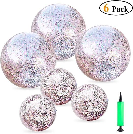 Multicolore 6 Pi/èces Ballon de Plage Gonflable Brillant Boules de Plage de Confettis Ballon de F/ête de Piscine Transparent pour Jouet d/'Eau de Plage d/Ét/é Faveur de Piscine et F/ête 16 Pouces