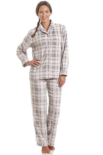 Gris para mujer Pijama a cuadros con estampado de lana 36/38