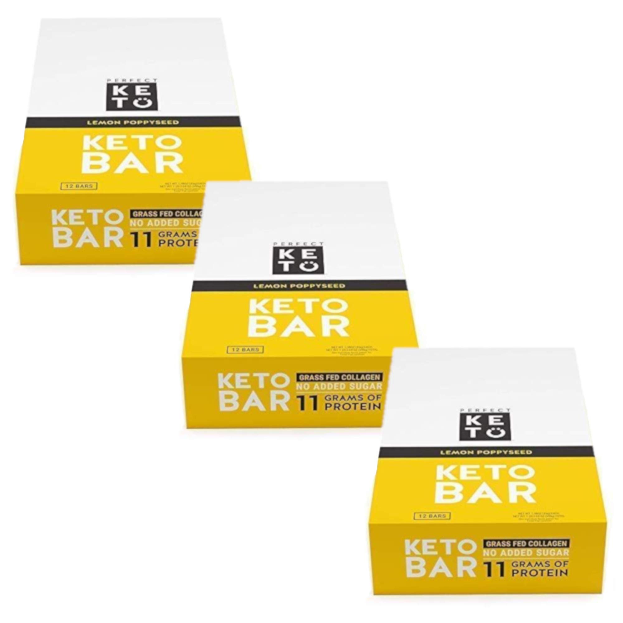 New! Perfect Keto Bar, Keto Snack (12 Count), No Added Sugar. 10g of Protein, Coconut Oil, and Collagen, with a Touch of Sea Salt and Stevia. (3 Boxes, Lemon Poppyseed)