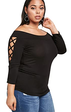 e3c985722a635 Plus Size Lace Up Tie Sleeve Long Sleeve Off The Shoulder T-Shirt Tee Top