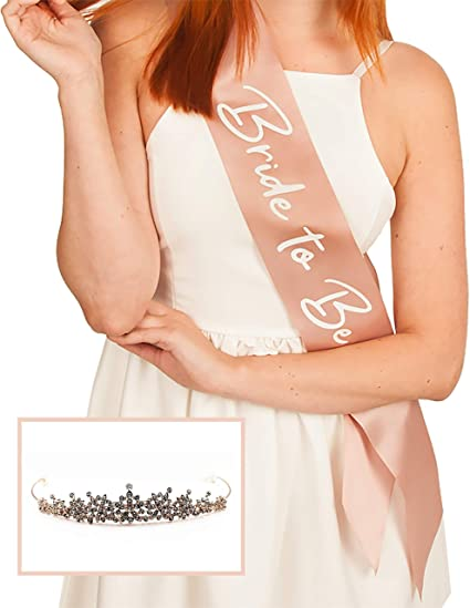 Perfect Match For Your Bridal Shower Engagement Party or Bachelorette Party Decorations Bachelorette Party Sash and Tiara Kit Pre-Wedding Party Bride To Be Sash and Tiara Set High Quality White Satin Bridal Sash with Gold text and Gold Colour Crown B