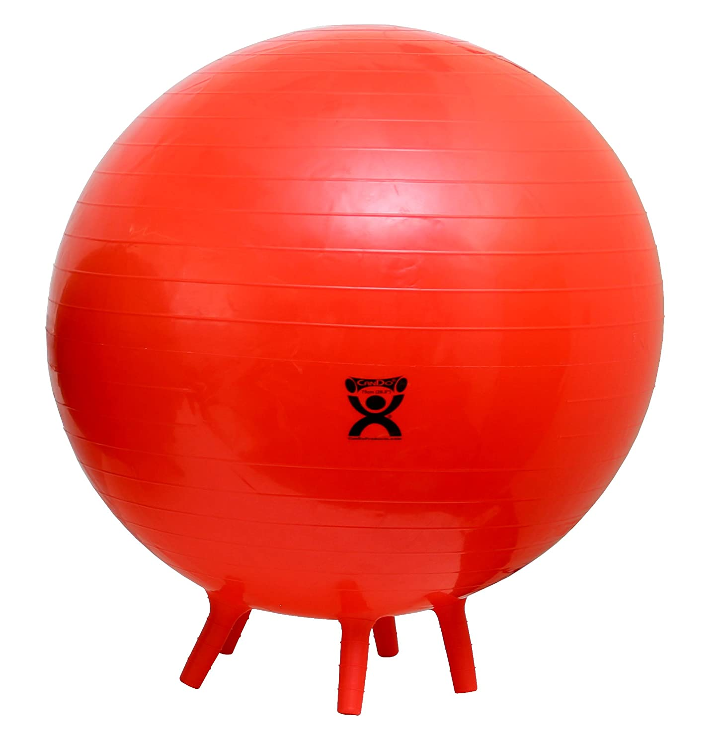 "CanDo-30-1894 Non-Slip Inflatable Exercise Ball with Stability Feet for Exercise, Workout, Core Training, Stability, Yoga, Pilates and Balance Training in Gym, Office, Home or Classroom. Red, 30"" (75 cm)"