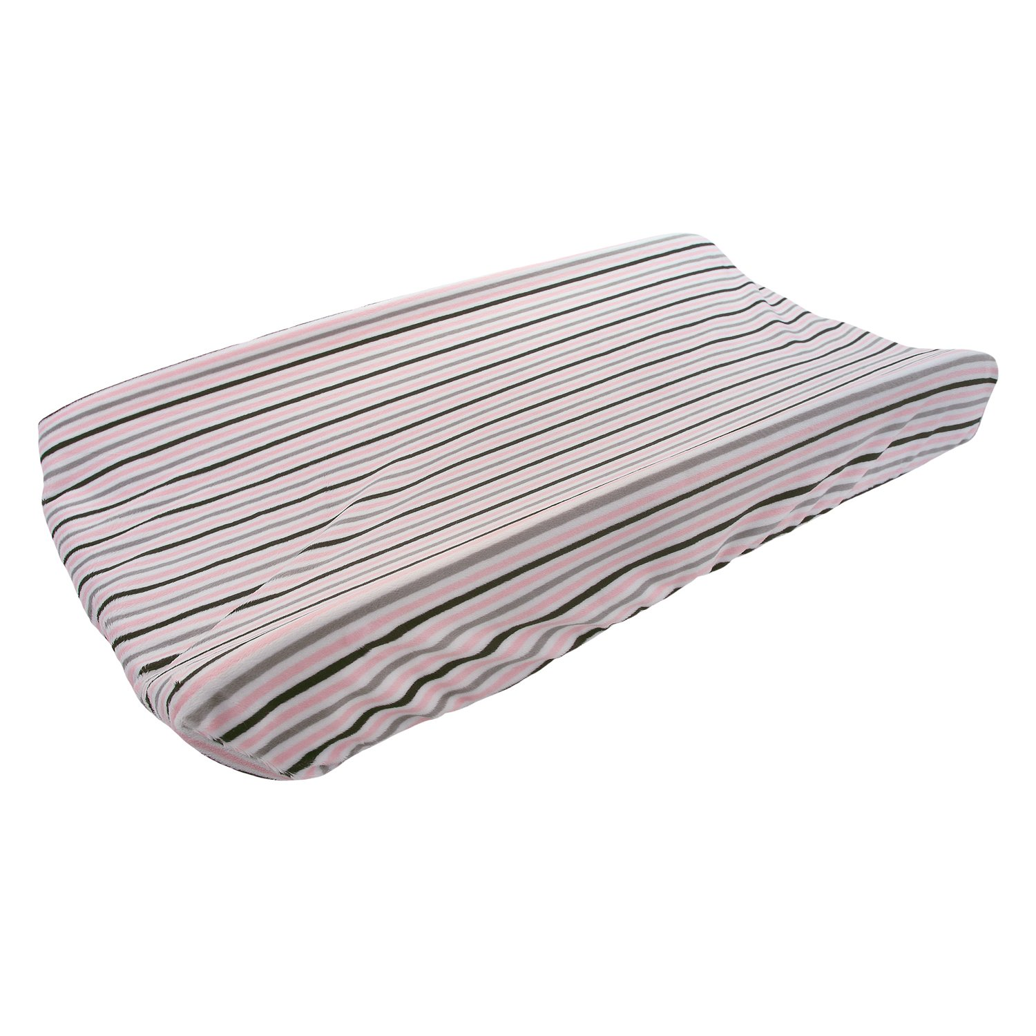 My Blankee Mini Stripe Minky Changing Pad Cover, Blush/Silver, 16'' x 32''