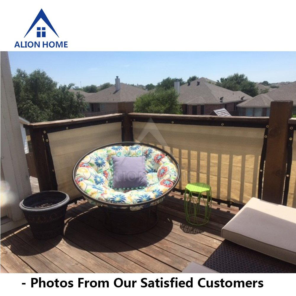 Alion Home HDPE Privacy Screen For Patio, Deck, Balcony, Backyard, Fence, Apartment Privacy - Black Trim - BEIGE(3'x 11') by Alion Home (Image #4)