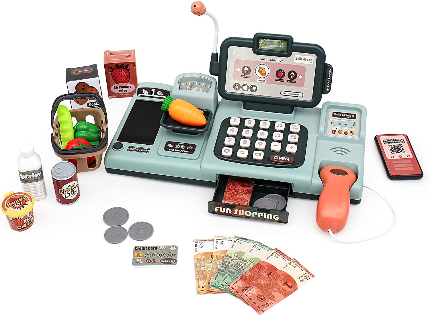 Toy Cash Register for Kids Shopping Pretend Play Calculator Set with 25pcs Accessories Includes Realistic Scanner & Sound & Microphone & Pretend Credit Card & Play Food Educational Toy for Girls Boys