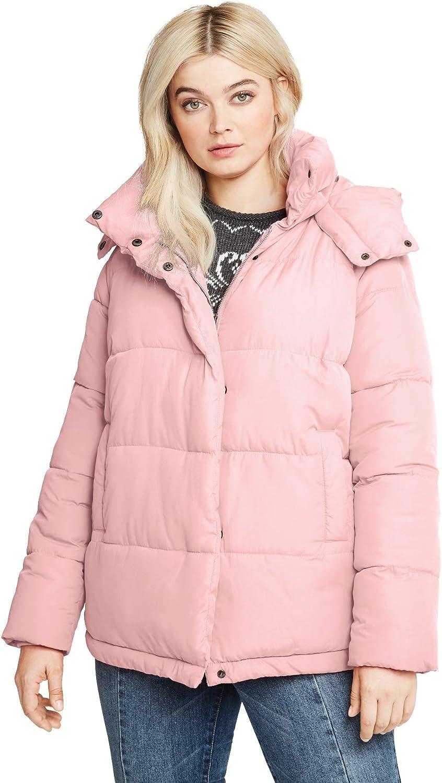 ellos Women's Plus Size Short Hooded Puffer Coat