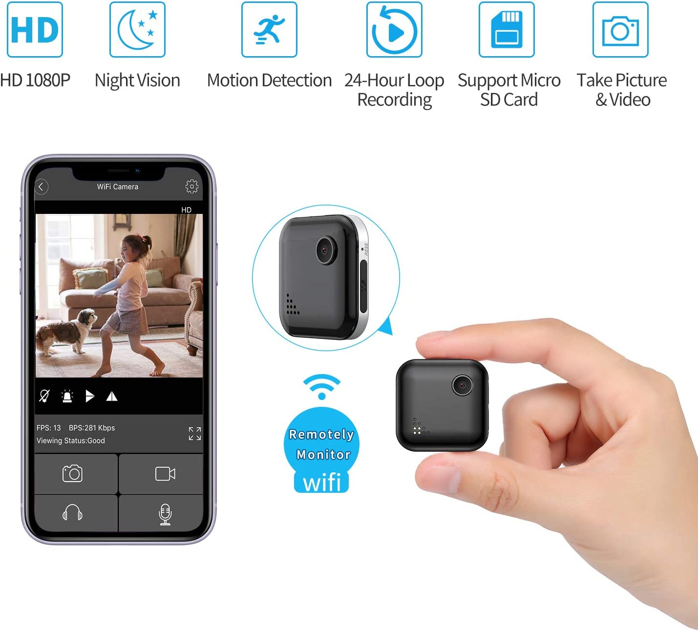 Mini Spy Camera WiFi 1080P Wireless Hidden Camera, Spy Cam Nanny Cam Audio Record Live Streaming, Small Surveillance Camera Night Vision Motion Detection for Home/Security/Car (with Phone APP)