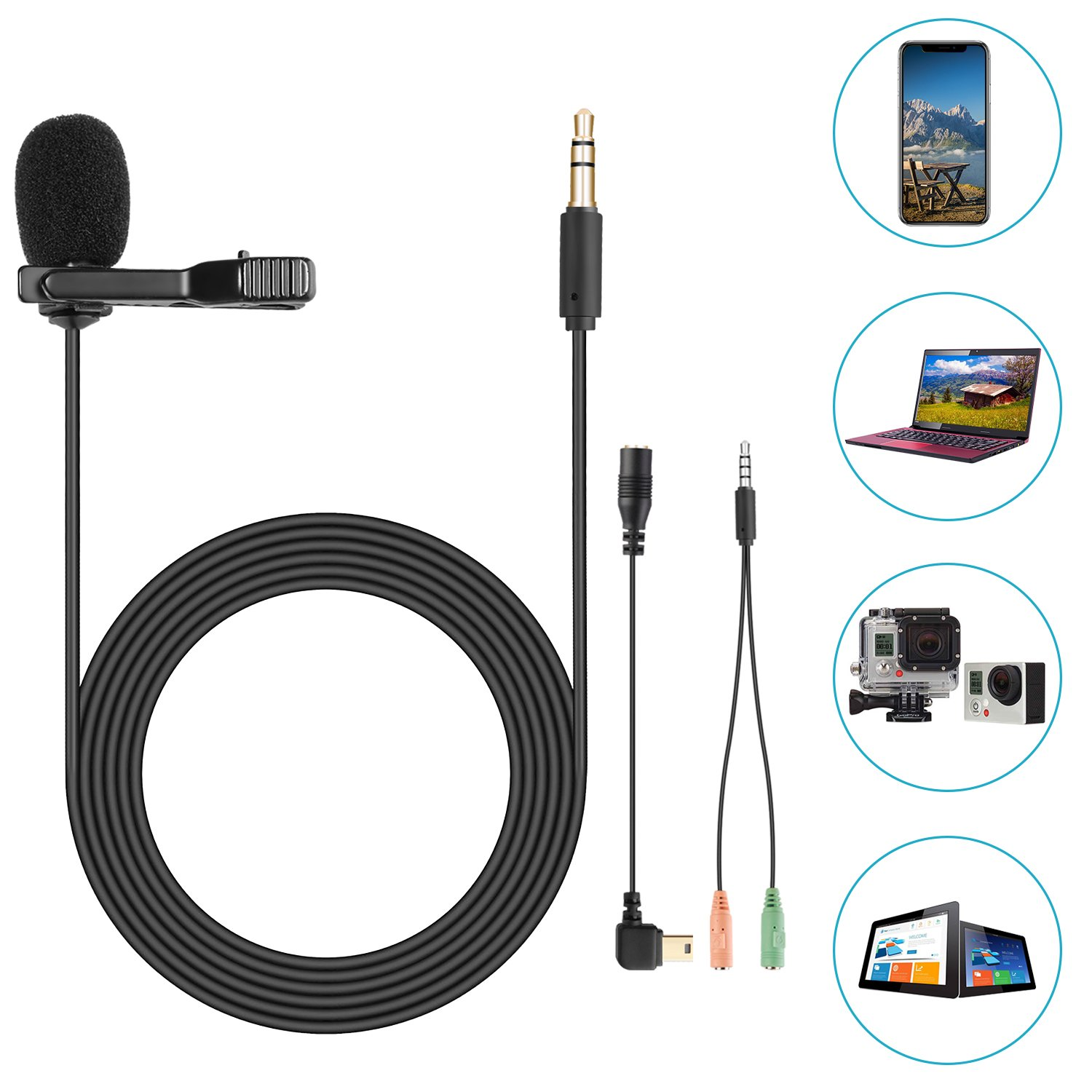 Neewer Lavalier Lapel Microphone, Compatible with GoPro Hero 4 3+ 3 2 1/Hero Session,iPhone, Smartphone and PC for Ultra-Crisp Sound Capture with Phone Adapter and Wind Muff C6 feet/1.8 meters 40093445