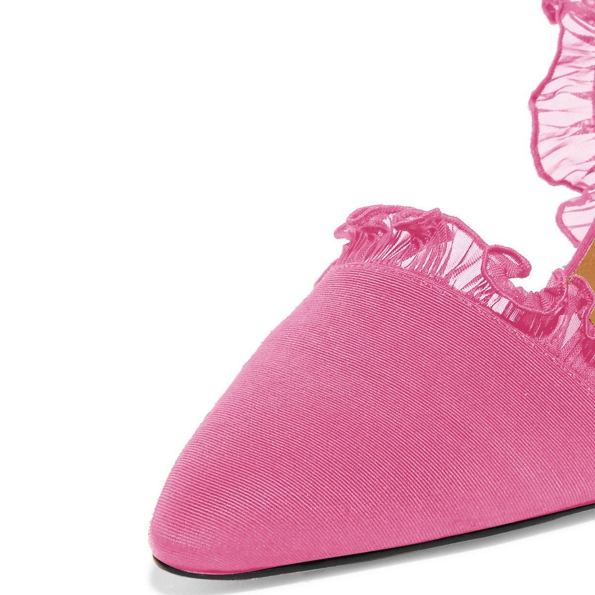 XYD Women Lace D'Orsay Pumps Pointed Toe Stiletto High Heels Slip on Dress Wedding Bridal Shoes B07BHGDSVZ 6 B(M) US|Pink