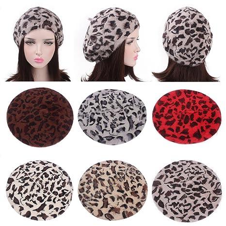 Guoyy Femmes Hiver béret Bonnet de Fourrure de Lapin imprimé léopard Bonnet  Artiste Chapeau Vintage Chaud (Beige)  Amazon.fr  Vêtements et accessoires e5172482317