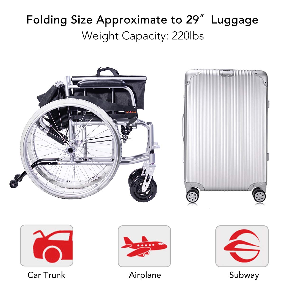 Amazon.com: Hi-Fortune silla de ruedas manual médica ligera ...