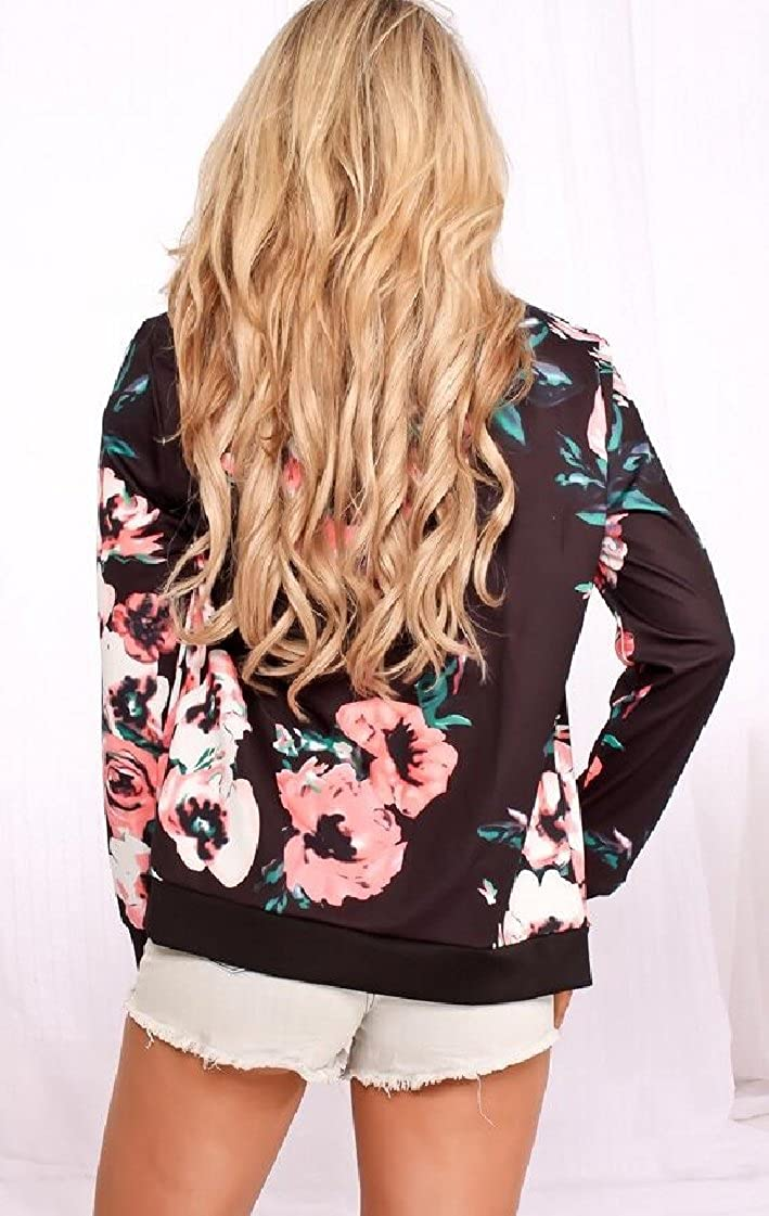M/&S/&W Women Floral Print Bomber Jacket Coat Pockted Outwear