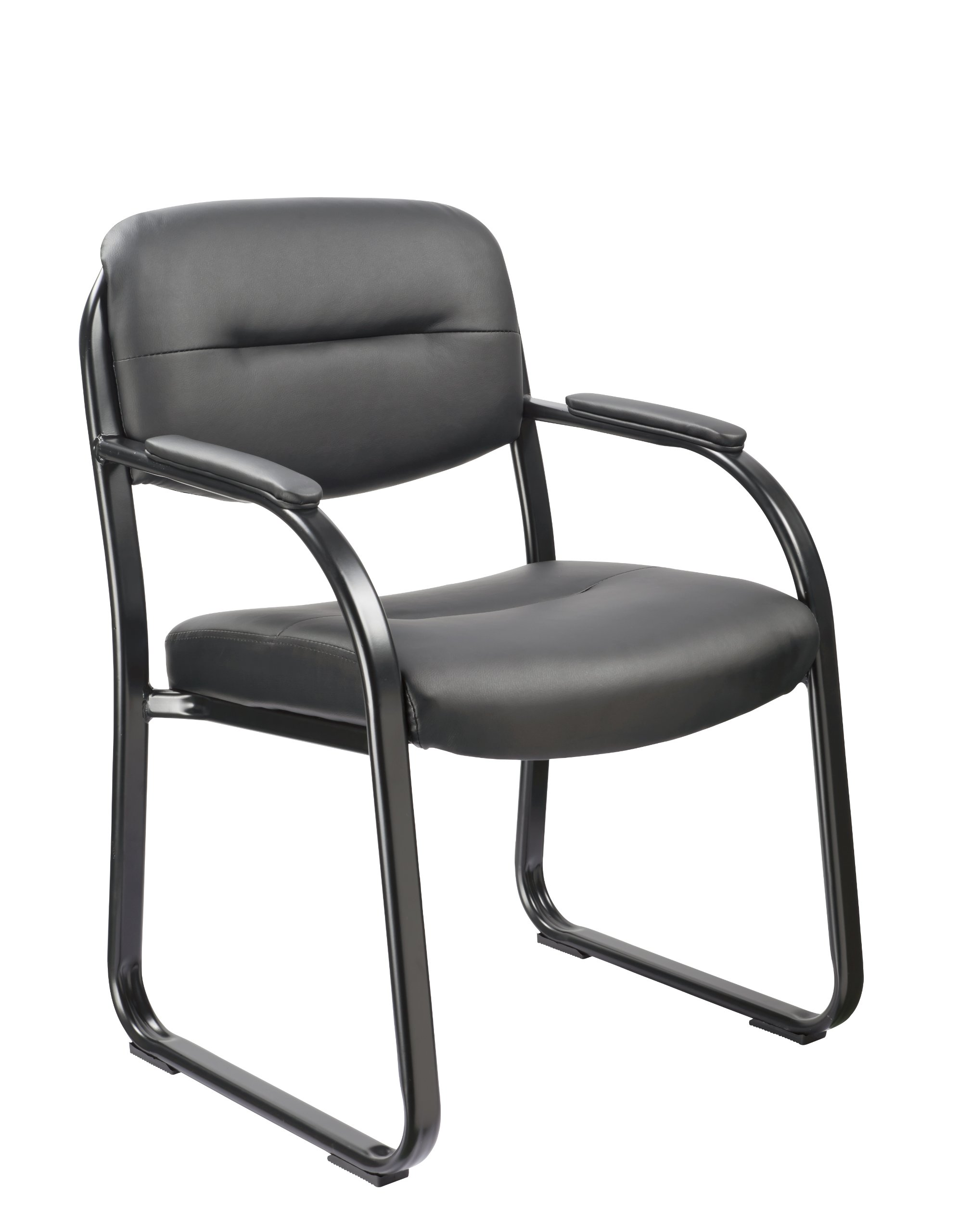 Office Factor Reception Room Executive Style Black Vinyl Guest Chair with Padded Seat, Back, Arms and Sled Base-Comfortable Seating for Visitors