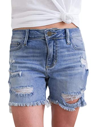 e90b7bf23f Sidefeel Women Mid Rise Distressed Denim Ripped Frayed Raw Hem Jeans Shorts  Small Blue