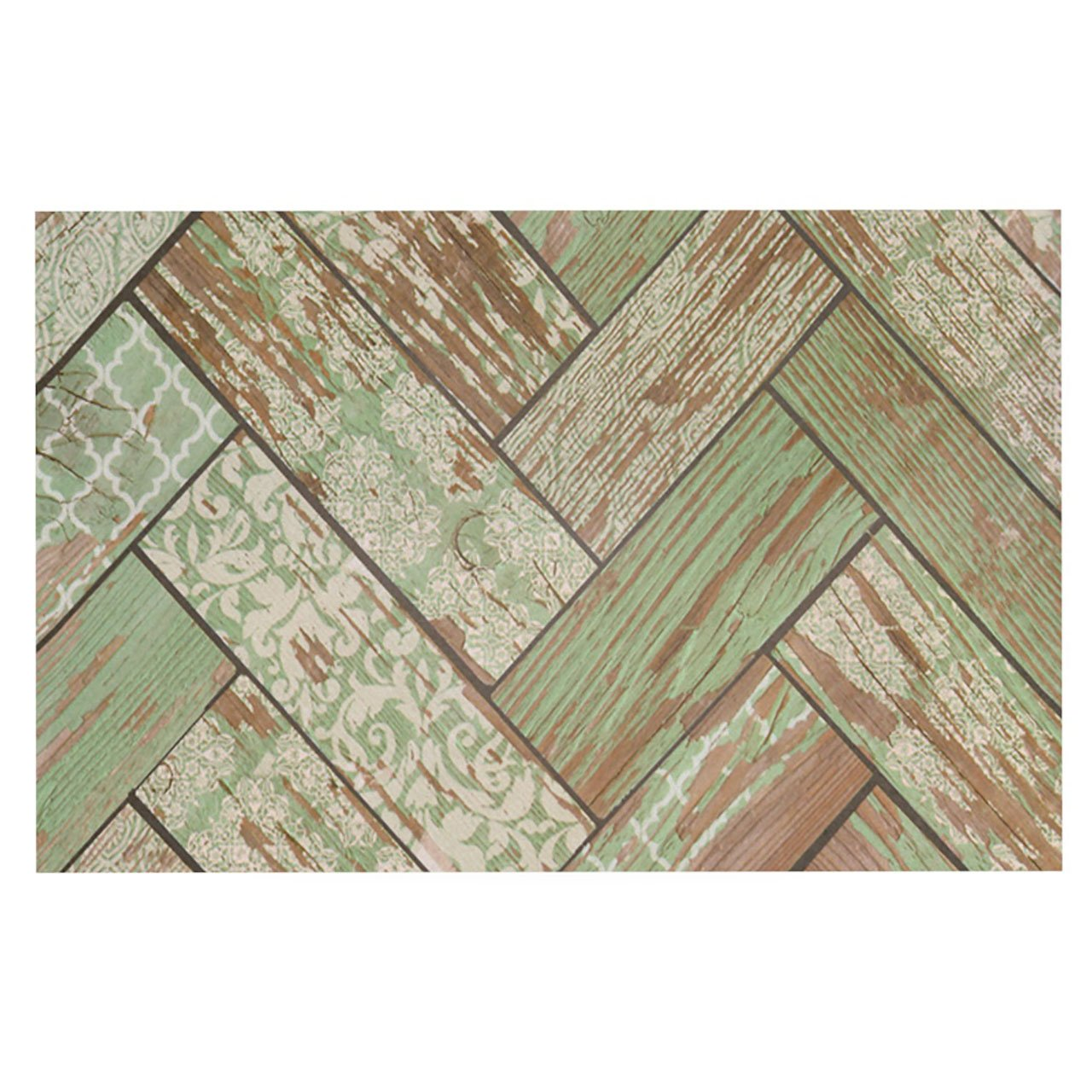 Kess InHouse  Heidi Jennings ''Patina'' Green Wood Pet Bowl Placemat for Dog and Cat Feeding Mat, 18-Inch by 13-Inch