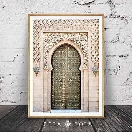Zxkx Portail Marocain Gris Porte En Bois Décoration De La Maison Mur Art Toile Peinture Affiches Et Gravures Mur Photos Pour Salon 50x70cm