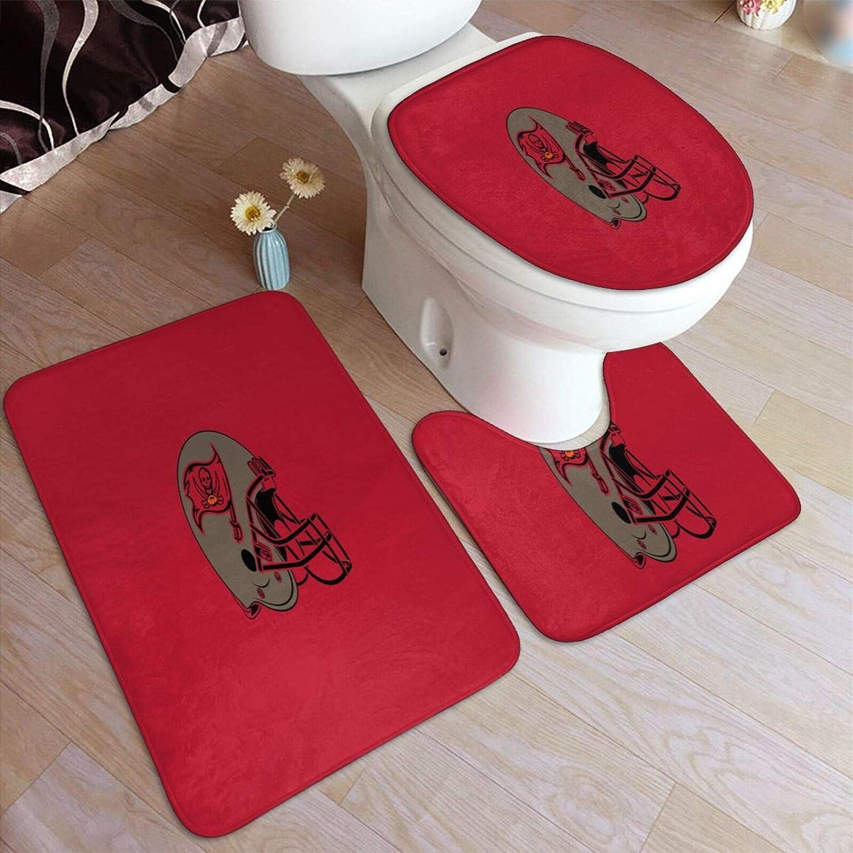 Lilian Ralap Tam-Pa Ba-Y Bucc-Aneers Bathroom Rug Mats Set 3 Piece Anti-Skid Pads Bath Mat + Contour + Toilet Lid Cover Bathroom Antiskid Pad