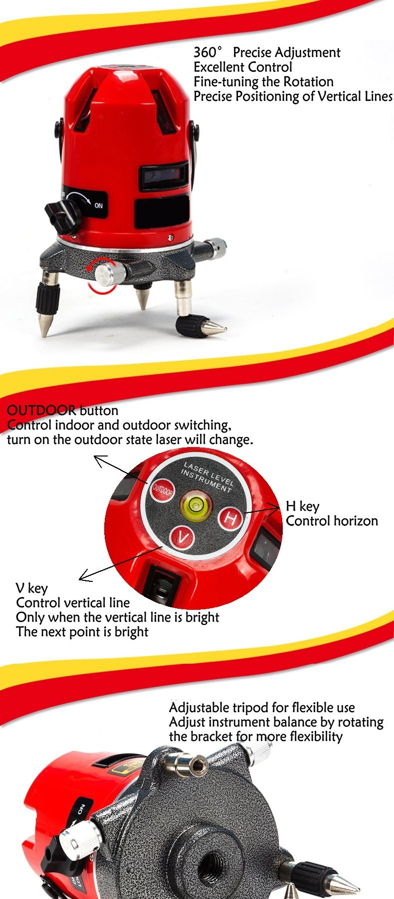 5 lines 6 points Multipurpose laser level,Automatic Self Leveling, 360 degree rotary cross laser line level,with outdoor mode and tilt mode (Laser Level)