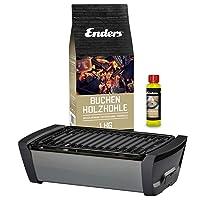 Aurora Enders Tischgrill klein schwarz Camping Balkon Picknick ✔ eckig ✔ tragbar rauchfrei ✔ Grillen mit Holzkohle ✔ für den Tisch