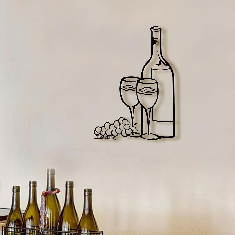 Amazon Com Wine For Two Medium Metal Art Sculpture Wall Art Black Metal Wall Art Metal Wall Decor Metal Wall Sculpture Home Kitchen