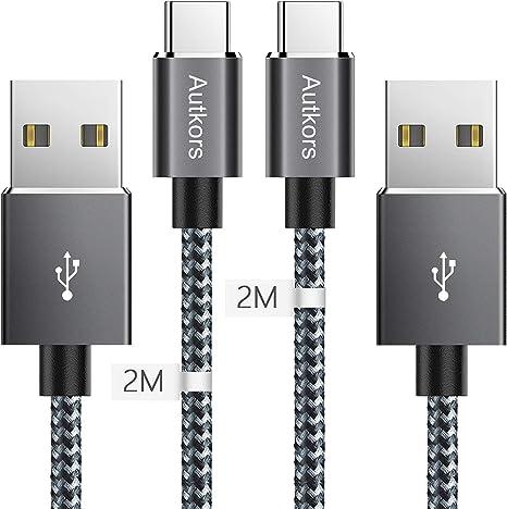2x 2m USB-C Nylon Cavo Cavo Di Ricarica Cavo Dati per Tablet Smartphone Cellulare MacBook