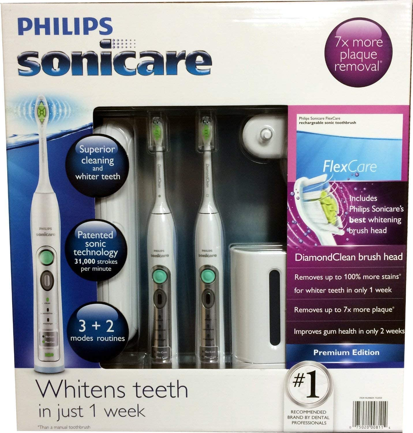 Philips Sonicare Flexcare Rechargeable Sonic Toothbrush Premium Edition 2 pack With UV Sanitizer