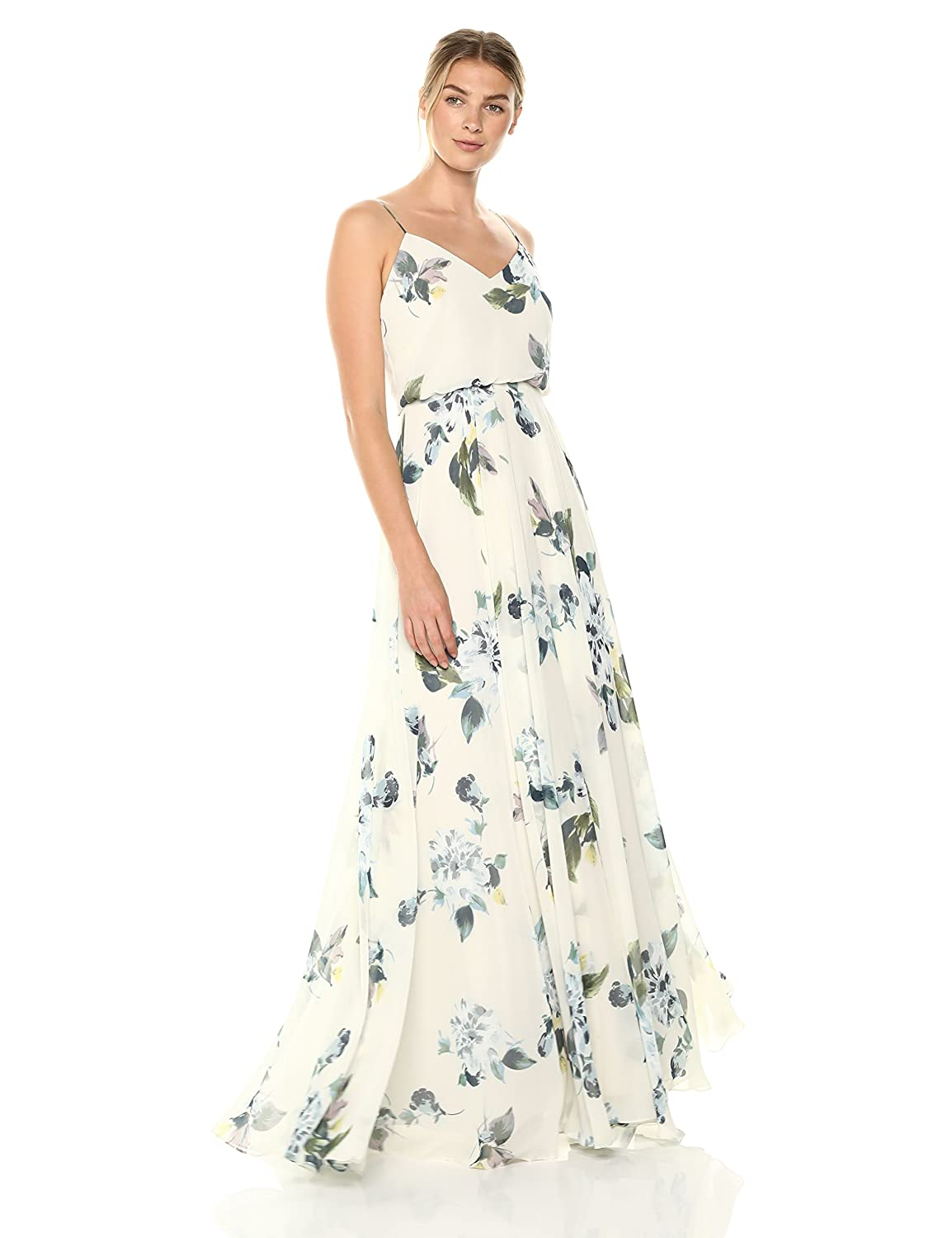 f1e96b73826 Jenny Yoo Women s Inesse Thin Strap V Neck Long Floral Chiffon Gown at  Amazon Women s Clothing store