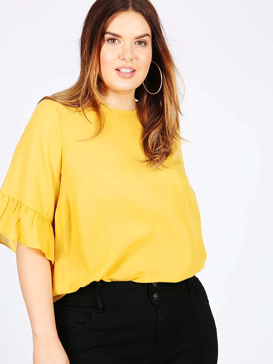 92ba7cf9dc1 Koko Women s Plus Size Mustard Yellow Blouse with 3 4 Frilled Sleeves (16)   Amazon.co.uk  Clothing