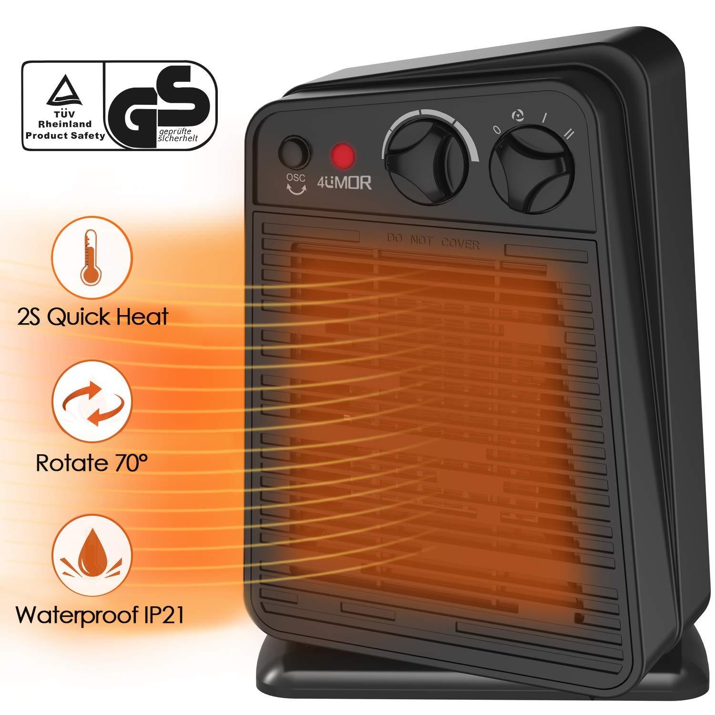 4UMOR Calefactor Cerámico de Bajo Consumo, Calefactor Baño 750W/1500W, Protección contra Vuelcos