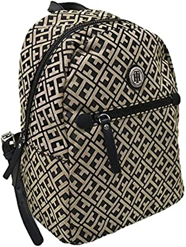 Tommy Hilfiger Womens Jacquard Backpack Black Beige