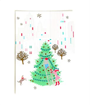 Hallmark Christmas Cards.Joy Of Christmas Greeting Cards Hallmark Boxed Cards Set With Christmas Tree In City Snow Scene 16 Cards And Envelopes