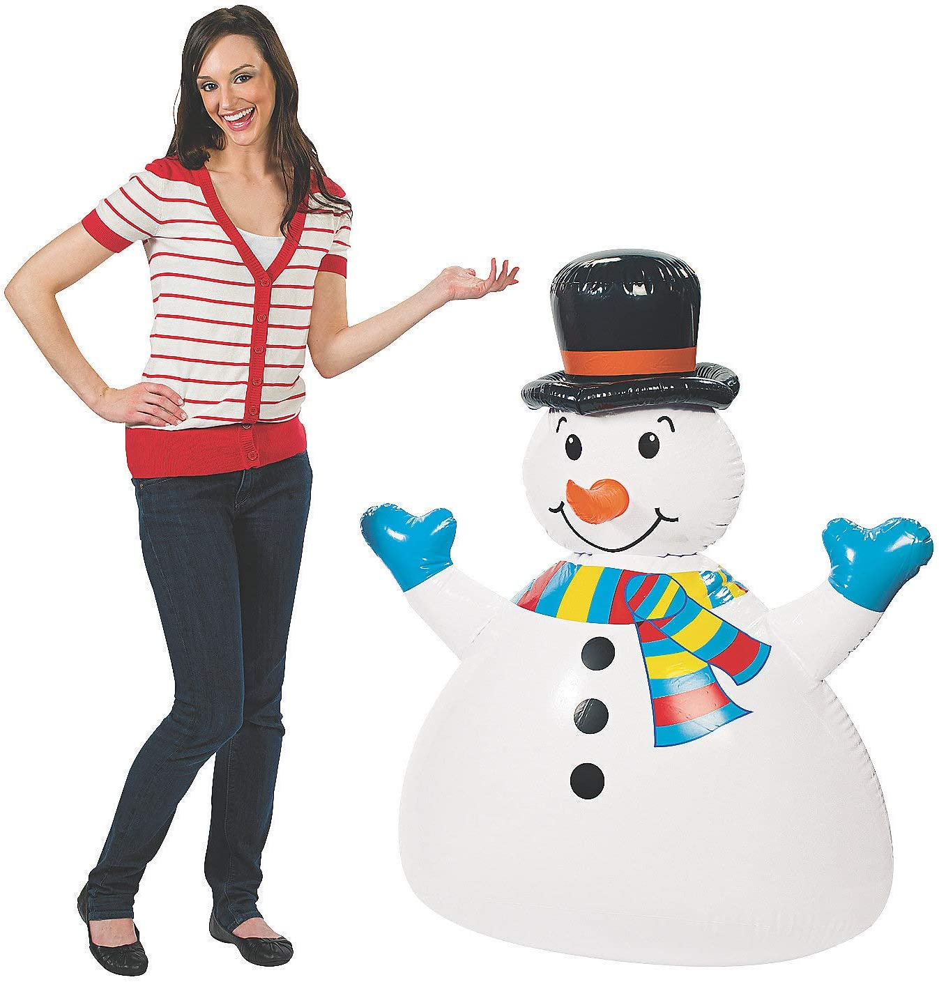 38in Wide DELUXE INFLATABLE JUMBO HAPPY FUN SNOWMAN 52in Tall
