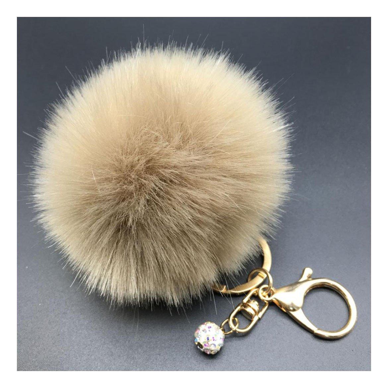 Fullkang Cute Rabbit Fur Ball Keychain Bag Plush Car Key Ring Pendant (13#)