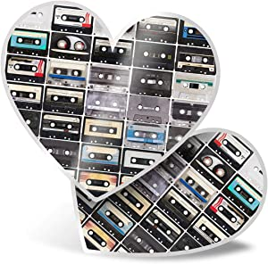 Awesome 2 x Heart Stickers 7.5 cm - Retro Vintage Cassette Music Cool Fun Fun Decals for Laptops,Tablets,Luggage,Scrap Booking,Fridges,Cool Gift #8393