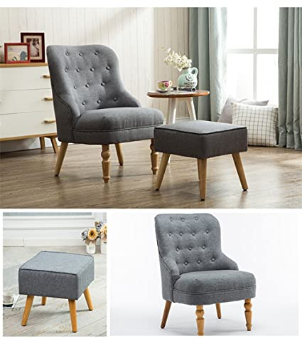 Magshion Elegant Upholstered Fabric Club Chair Accent Chair W/ Ottoman  Living Room Set (Grey
