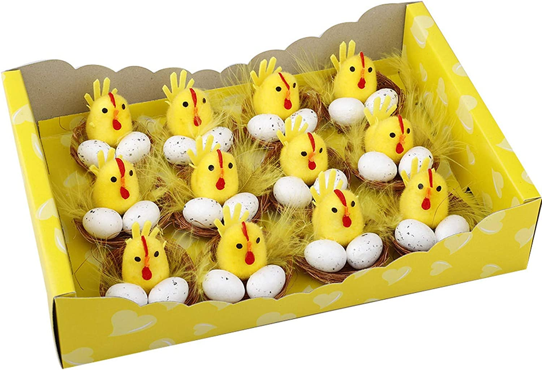 TLOOWY Mini Easter Chicks Yellow Easter Chenille Chicks Cute Fully Easter Chicks Baby Chicks for Easter Party Easter Egg Bonnet Decoration Easter Egg Hunt