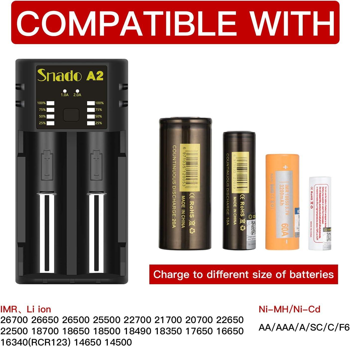 3.7 V Li-Ion IMR 18650 18500 17650 16340 14500 22650 25500 22700 21700 20700 batterie Snado Smart caricabatterie per batteria ricaricabile Ni-MH Ni-Cd a AA AAA C SC F6