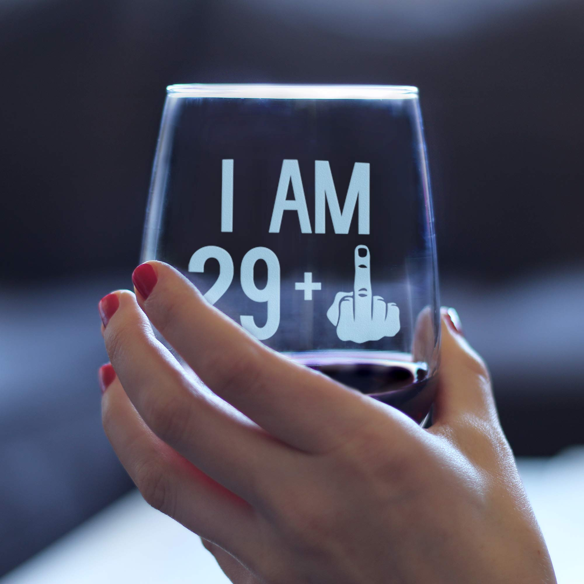 29 + One Middle Finger | 30th Birthday Stemless Wine Glass for Women & Men | Cute Funny Wine Gift Idea | Unique Personalized Bday Glasses for Best Friend Turning 30 | Drinking Party Decoration by Bevvee (Image #3)